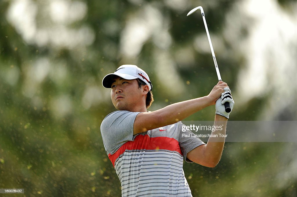 Richard Lee of Canada plays a shot during round three of the Asian Tour Qualifying School Final Stage at Springfield Royal Country Club on January 25, 2013 in Hua Hin, Thailand.
