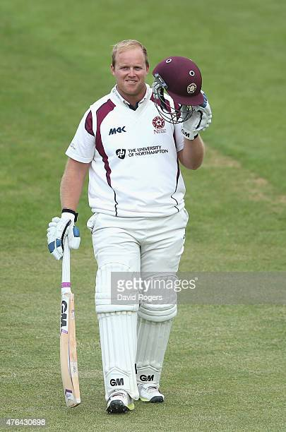 Richard Levi of Northampton acknowledges the applause from the crowd after being dismissed for a first class career best 168 runs during the LV...
