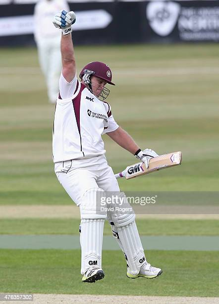 Richard Levi of Northamptonshire celebrates after scoring his maiden century for Northamptonshire during the LV County Championship division two...
