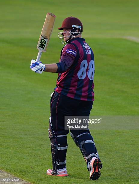 Richard Levi of Northamptonshire celebrates reaching his 50 during the NatWest T20 Blast match between Northamptonshire and Derbyshire at The County...