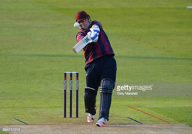 Richard Levi of Northamptonshire hits out during the NatWest T20 Blast match between Northamptonshire and Derbyshire at The County Ground on May 27...