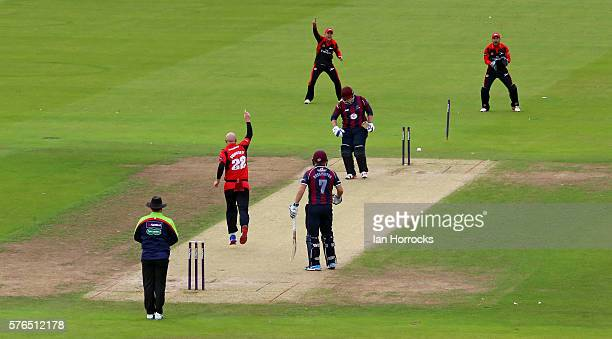 Richard Levi of Northamptonshire is out with the first ball Chris Rushworth of Durham taking the wicket during the NatWest T20 Blast game between...