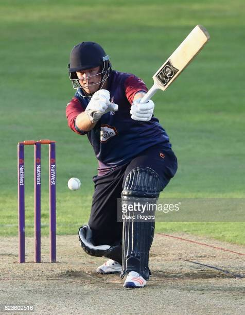 Richard Levi of Northamptonshire loses his grip on the bat during the NatWest T20 Blast match between Northamptonshire Steelbacks and Worcestershire...
