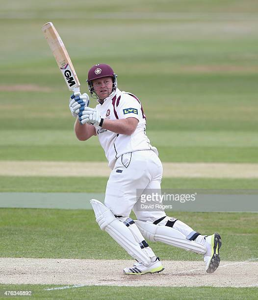Richard Levi of Northamptonshire pulls the ball during the LV County Championship division two match between Northamptonshire and Essex the County...