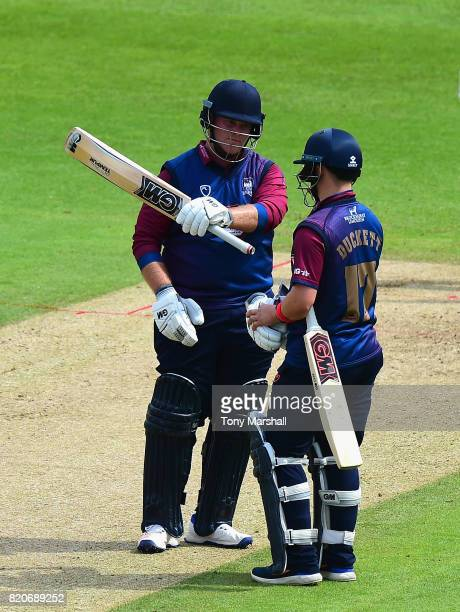 Richard Levi of Northamptonshire Steelbacks celebrates reaching his 50 during the NatWest T20 Blast between Nottinghamshire Outlaws and...