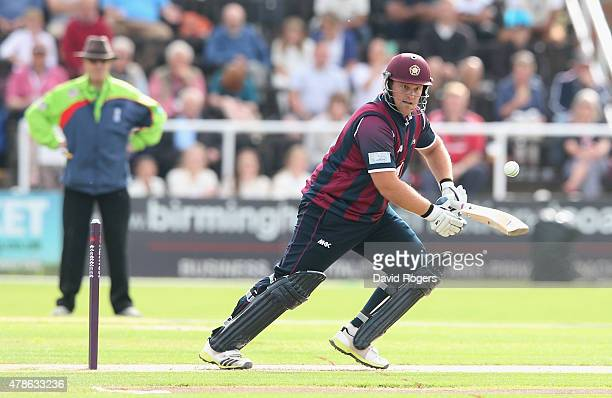 Richard Levi of Northants cuts the ball for four runs during the NatWest T20 Blast match between Worcestershire Rapids and Northamptonshire...