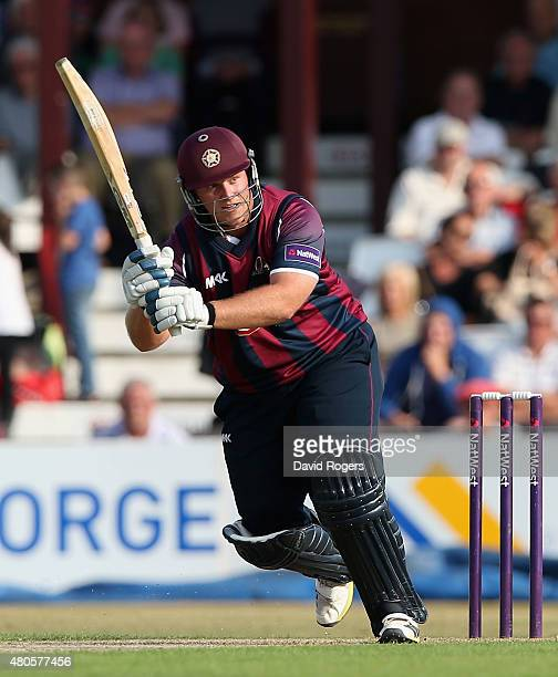 Richard Levi of Northants pulls the ball during the NatWest T20 Blast match between Northamptonshire Steelbacks and Leicestershire Foxes at The...