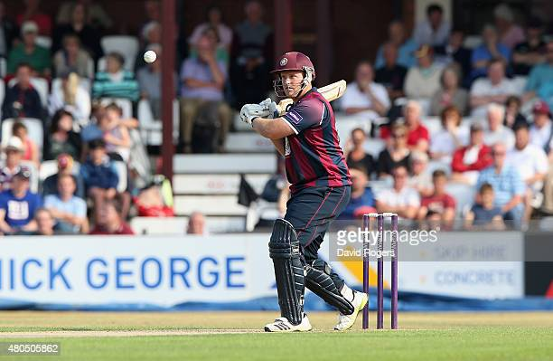 Richard Levi of Northants pulls the ball for four runs during the NatWest T20 Blast match between Northamptonshire Steelbacks and Leicestershire...