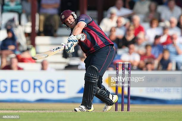 Richard Levi of Northants pulls the ball for six runs during the NatWest T20 Blast match between Northamptonshire Steelbacks and Leicestershire Foxes...