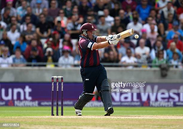 Richard Levi of Northhamptonshire hits out during the NatWest T20 Blast Semi Final match between Northamptonshire and Warwickshire at Edgbaston on...
