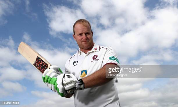 Richard Levi poses during the Northamptonshire County Cricket photocall held at The County Ground on April 5 2017 in Northampton England