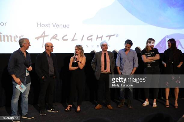 Richard Levine Addison Timlin Jared Goldman Jeff Russo Maggie Phillips and Hillary Spera speak at the screening of 'Submission' during the 2017 Los...