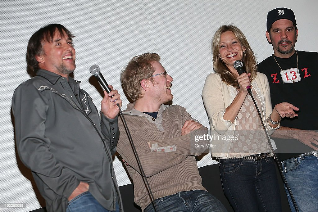 <a gi-track='captionPersonalityLinkClicked' href=/galleries/search?phrase=Richard+Linklater&family=editorial&specificpeople=242770 ng-click='$event.stopPropagation()'>Richard Linklater</a>, <a gi-track='captionPersonalityLinkClicked' href=/galleries/search?phrase=Anthony+Rapp&family=editorial&specificpeople=584008 ng-click='$event.stopPropagation()'>Anthony Rapp</a>, <a gi-track='captionPersonalityLinkClicked' href=/galleries/search?phrase=Joey+Lauren+Adams&family=editorial&specificpeople=621841 ng-click='$event.stopPropagation()'>Joey Lauren Adams</a> and Nicky Katt speak during a Q&A for the 20th anniversary screening of 'Dazed & Confused' at Marchesa Hall & Theater on March 6, 2013 in Austin, Texas.