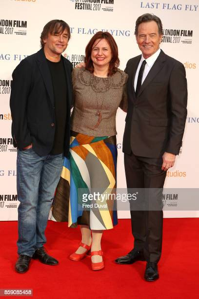 Richard Linklater Clare Stewart and Bryan Cranston attend the Headline Gala Screening International Premiere of 'Last Flag Flying' during the 61st...