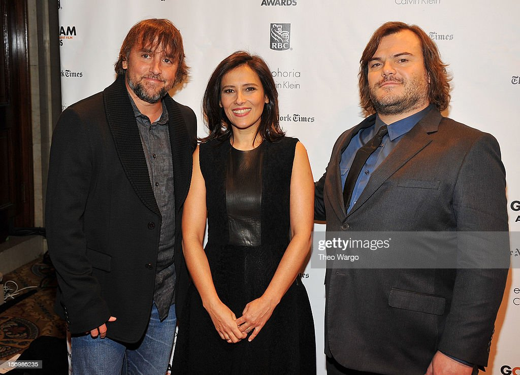 <a gi-track='captionPersonalityLinkClicked' href=/galleries/search?phrase=Richard+Linklater&family=editorial&specificpeople=242770 ng-click='$event.stopPropagation()'>Richard Linklater</a>, IFP Executive Director Joana Vicente, and <a gi-track='captionPersonalityLinkClicked' href=/galleries/search?phrase=Jack+Black&family=editorial&specificpeople=171453 ng-click='$event.stopPropagation()'>Jack Black</a> attend the IFP's 22nd Annual Gotham Independent Film Awards at Cipriani Wall Street on November 26, 2012 in New York City.