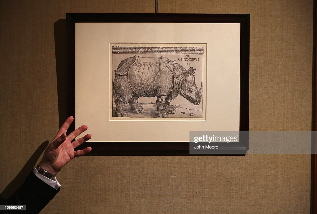 Richard Lloyd of Christie's auction house describes drawing 'The Rhinoceros' by Albrecht Durer on January 24, 2013 in New York City. The auction house previewed pieces from its upcoming Old Masters Week, to be held Jan. 26-31 in New York City, with the auction beginning January 29.