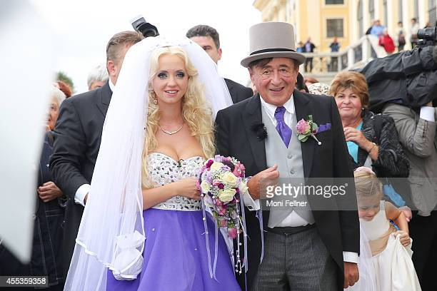 Richard Lugner and Cathy Schmitz get married at Schoenbrunn Palace on September 13 2014 in Vienna Austria