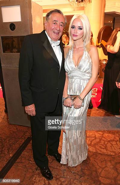 Richard Lugner and his wife Cathy Schmitz Lugner during the German Film Ball 2016 arrival at Hotel Bayerischer Hof on January 16 2016 in Munich...