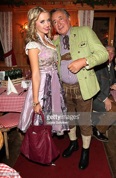 Richard Lugner and his wife Cathy 'Spatzi' Lugner during Rosi's Schnitzelparty at Sonnbergstuben on January 24 2015 in Kitzbuehel Austria