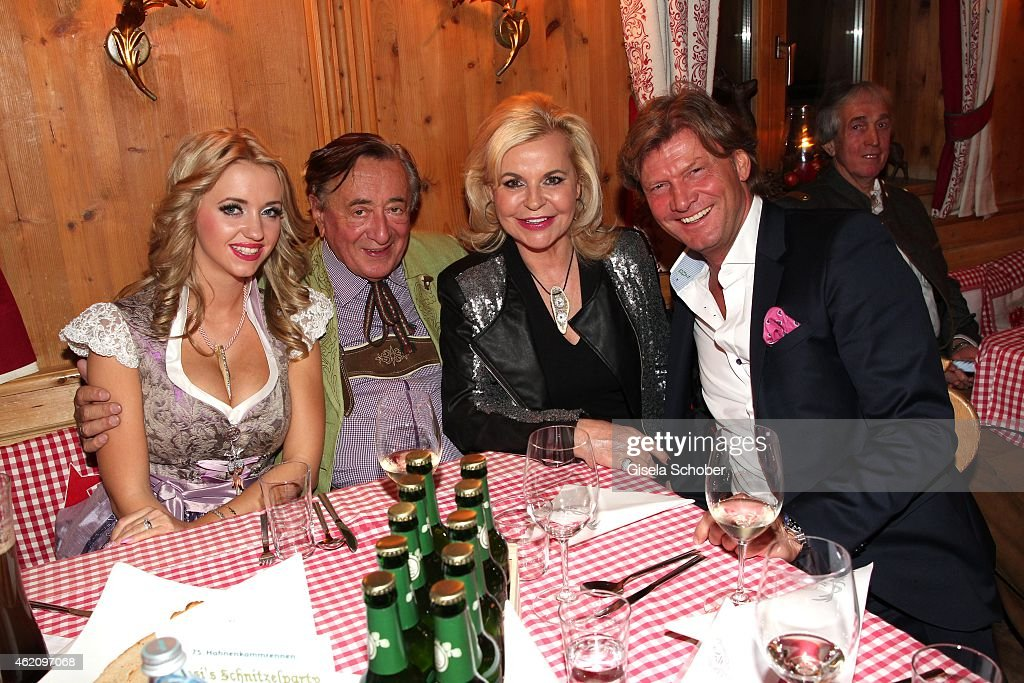 Richard Lugner and his wife Cathy 'Spatzi' Lugner Tessy Pavelkova and Christian Marek during Rosi's Schnitzelparty at Sonnbergstuben on January 24...