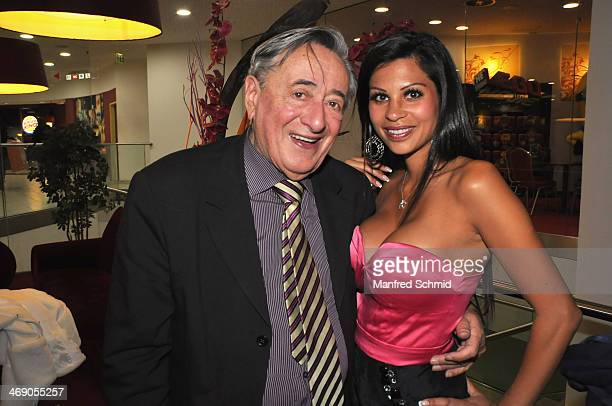 Richard Lugner and Nina Bruckner aka Bambi attend the ATV 'Wien Tag Nacht' Tv Show presentation at Lugner Lounge on February 12 2014 in Vienna Austria