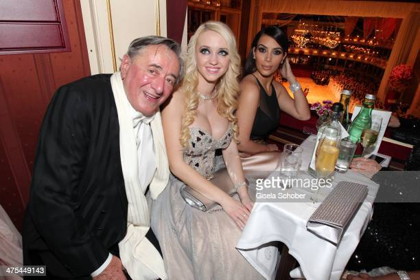 Richard Lugner Cathy Schmitz and Kim Kardashian attend the traditional Vienna Opera Ball at Vienna State Opera on February 27 2014 in Vienna Austria