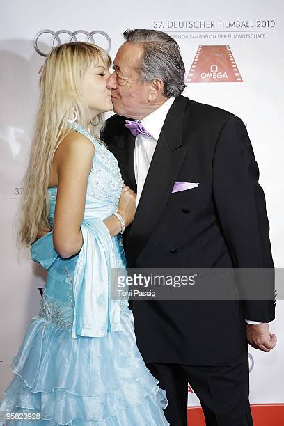 Richard Lugner kissing his girlfriend attend the 37 th German Filmball 2010 at the hotel Bayrischer Hof on January 16 2010 in Munich Germany