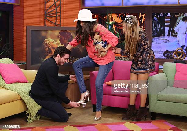 Richard Madden Ana Patricia Gamez and Ximena Cordoba are seen on the set of Despierta America to promote the film 'Cinderella' at Univision Studios...