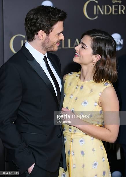 Richard Madden and Jenna Coleman attend the premiere of Disney's 'Cinderella' at the El Capitan Theatre on March 1 2015 in Hollywood California