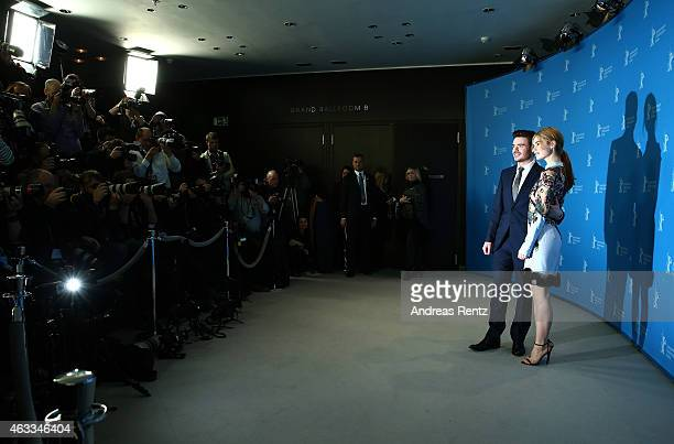 Richard Madden and Lily James attend the 'Cinderella' photocall during the 65th Berlinale International Film Festival at Grand Hyatt Hotel on...