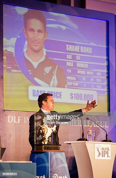 Richard Madley celebrity auctioneer conducts the bidding for players at the Indian Premier League 2010 auction on January 19 2010 in Mumbai India