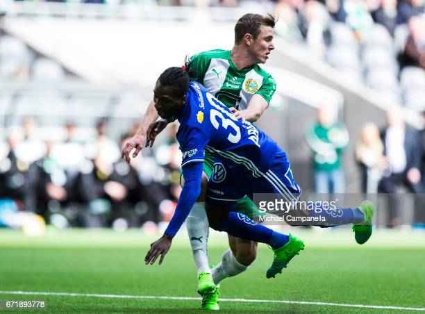 Richard Magyar of Hammarby IF strips the ball from Peter Wilson of GIF Sundsvall during the Allsvenskan match between Hammarby IF and GIF Sundsvall...