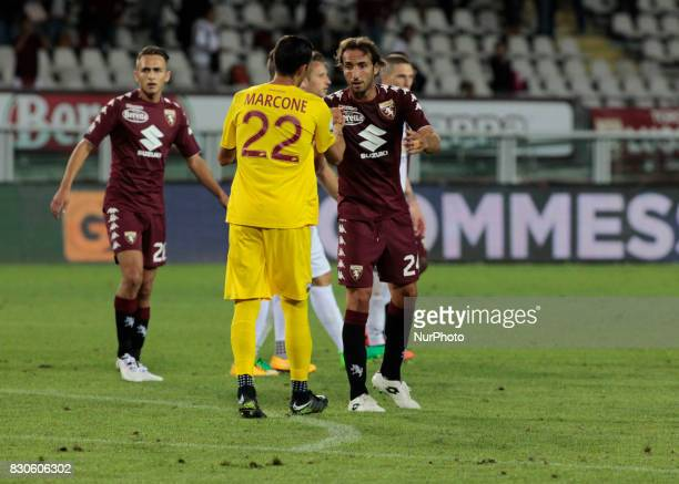 Richard Marcone and Emiliano Moretti during Tim Cup 2017/2018 match between Torino v Trapani in Turin on August 11 2017 FC Torino win 71 the math