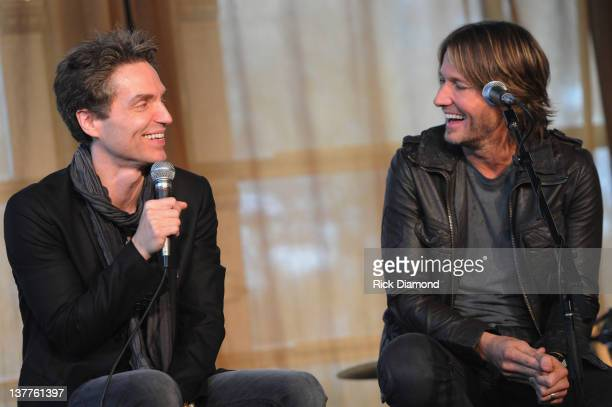 Richard Marx and Keith Urban answer questions from the press at the BMI ASCAP Party For 'Long Hot Summer' written by Keith Urban and Richard Marx at...