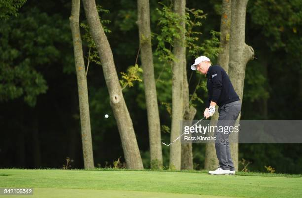 Richard McEvoy of England plays his second shot on the 3rd hole during the final round on day four of the DD REAL Czech Masters at Albatross Golf...