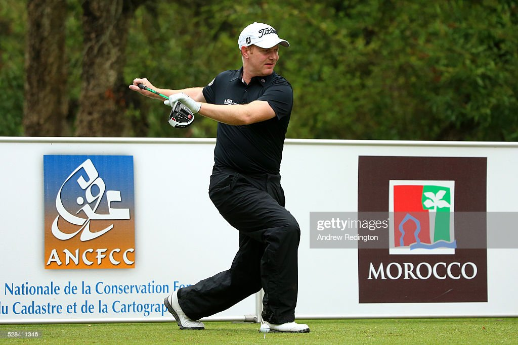 Richard McEvoy of England warms up before hitting his tee shot on the 11th during the first round of the Trophee Hassan II at Royal Golf Dar Es Salam on May 5, 2016 in Rabat, Morocco.