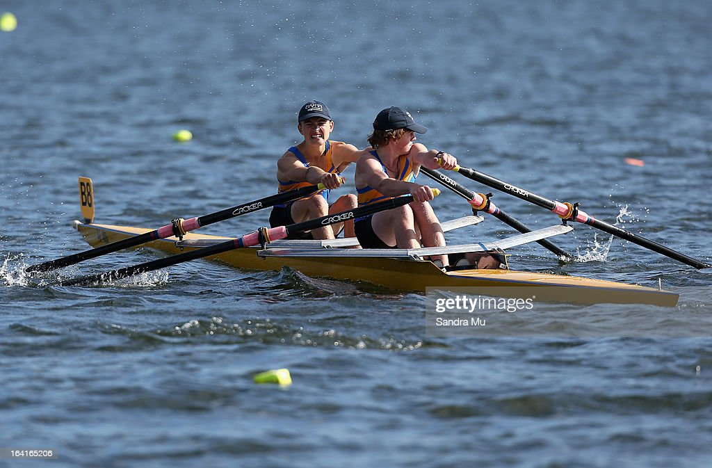 Richard McLachlan (L) and Jack Swale of Whakatipu High School boys U18 novice double race in the first semi final during day four of the Maadi Cup at Lake Karapiro on March 21, 2013 in Cambridge, New Zealand.