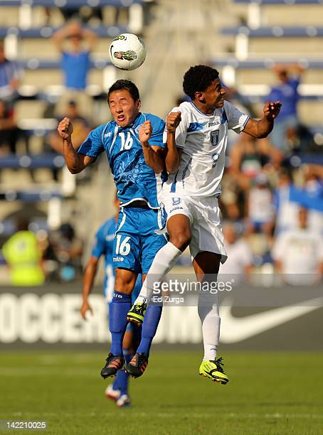 Richard Menjivar of El Salvador and and Anthony Lozano of Honduras vie for the ball in the first half of the 2012 CONCACAF Men's Olympic Qualifying...