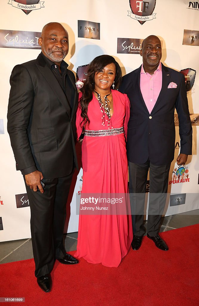 Richard Mofe-Damijo, Sylvia Babaloa and Chike Ogeah attend the Femdouble Producers Choice Honorees Gala at Bel Air Ship Mansion on February 8, 2013 in Belair, California.
