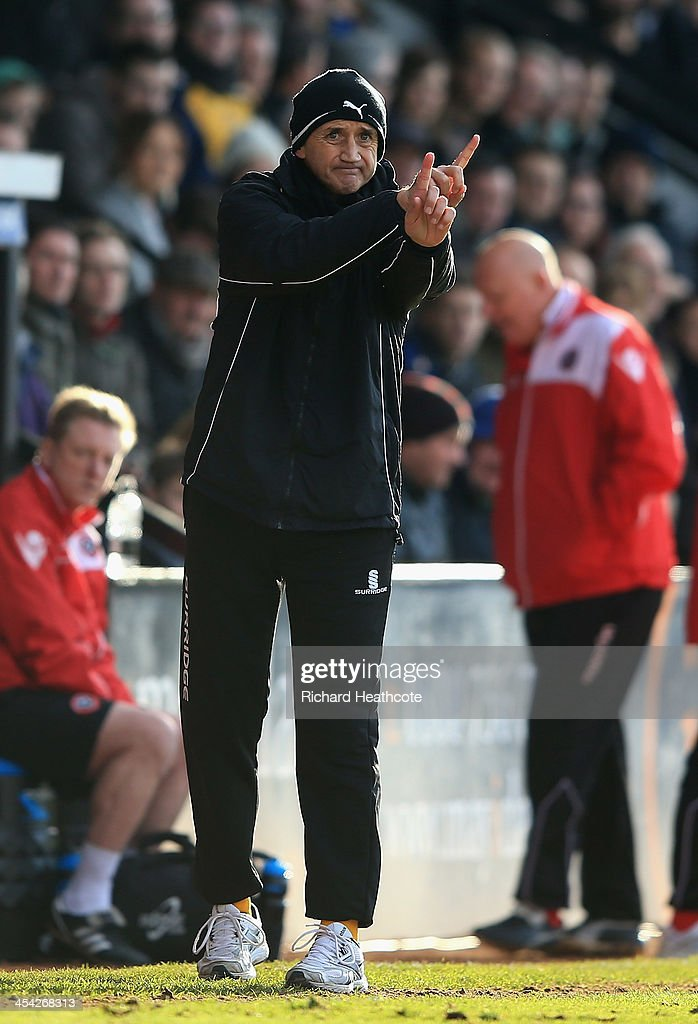 Richard Money the Cambridge United Manager looks on during the FA Cup Second Round match between Cambridge United and Sheffield United at the Abbey Stadium on December 8, 2013 in Cambridge, Cambridgeshire.