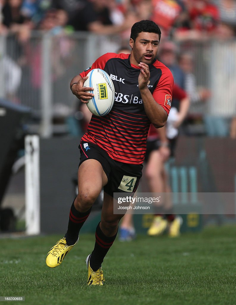 Richard Mo'unga of Canterbury with the ball during the round eight ITM Cup match between Cantebury and Counties Manukau at AMI Stadium on October 6, 2013 in Christchurch, New Zealand.