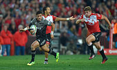Richard Mo'unga of the Crusaders holds the ball during the Super Rugby quarter final clash between the Emirates Lions and the Crusaders at Ellis Park...