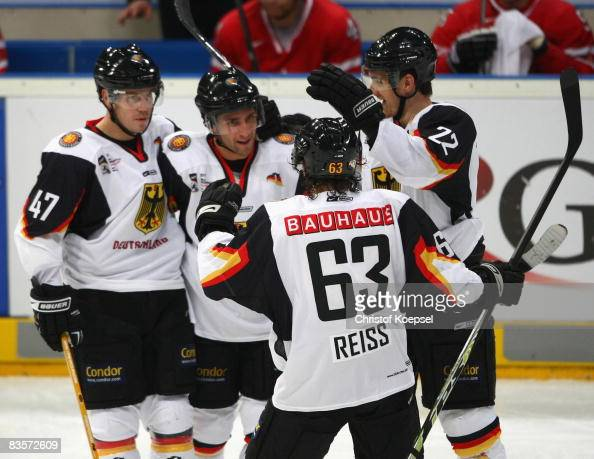 Richard Mueller of Germany celebrates his second goal with Christoph Ullmann Andre Reiss and Michael Bakos during the International Friendly match...