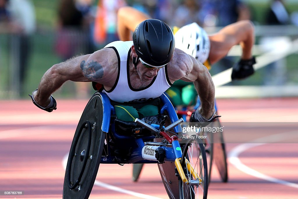Richard Nicholson of ACT competes in the mens 400m wheelchair race during the IPC Athletics Grand Prix on February 6, 2016 in Canberra, Australia.