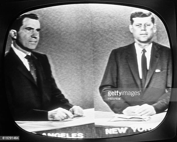 Richard Nixon and John F Kennedy participate in a longdistance presidential debate during the 1960 campaign Vice President Nixon was filmed in Los...