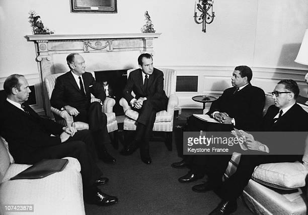 Richard Nixon And The Secretary Of State William Rogers In Washington On January 1970