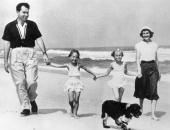 Richard Nixon with his wife Thelma Ryan and his two daughters Julie and Tricia during his first year as vice president