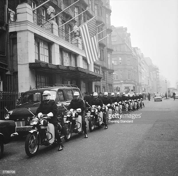 Richard Nixon's police escort parked outside Claridges during the president's visit to London 5th March 1969