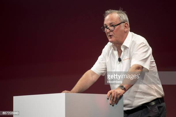 Richard Noble chief executive officer and project director of The Bloodhound Project speaks during the Oracle OpenWorld 2017 conference in San...