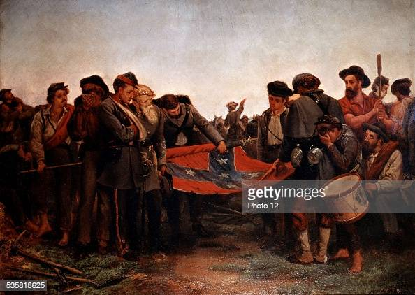 Richard Norris Brooke Civil War Confederate soldiers rolling up their flag after General Lee's capitulation in Appomatox United States A McCook...